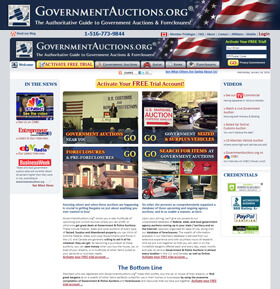 GovernmentAuctions.org® shows you a vast multitude of upcoming and current sources where you can profit, or otherwise get great deals at Government & Police Auctions.