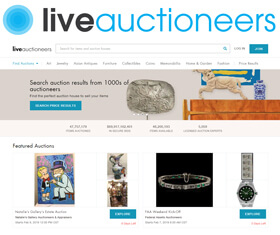 LiveAuctioneers brings an international audience of millions to the heart of the bidding action in Art, antiques, Jewelry and Collectibles auctions across the globe.