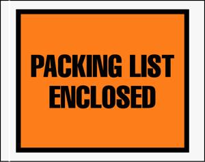 Packing List Enclosed Envelopes