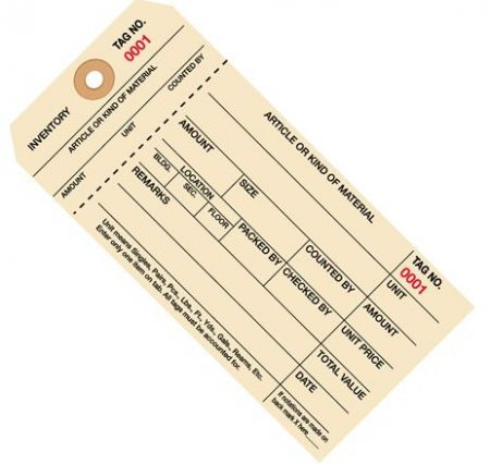 Stub Style 1 Part Carbonless Inventory Tags