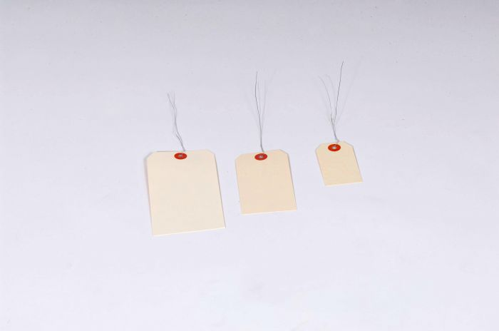 "#12 8 x 4"" 15 Pt. Jumbo Manila Shipping Tags - Pre-Wired (500/case)"