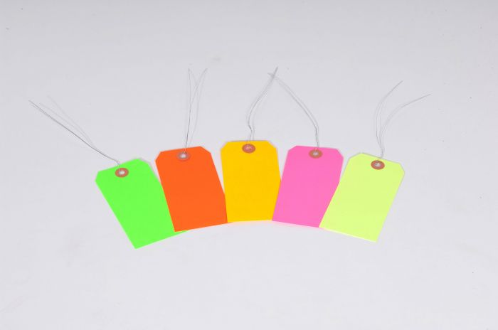 "#5 4 3/4"" x 2 3/8"" 13 Pt. Fluorescent Green Shipping Tags - Pre-Wired (1000/case)"