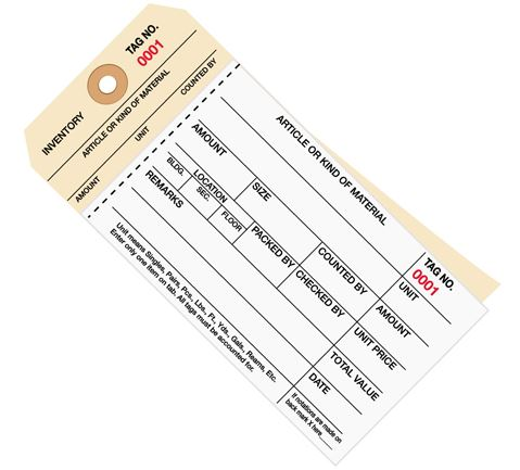 #8 Stub Style 2-Part Carbonless Inventory Tags #1000 - 1499 - Unwired (500/case)