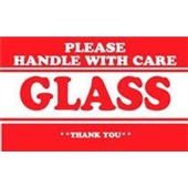 "#DL1280 3 x 5"" Please Handle with Care Glass Thank You Label"