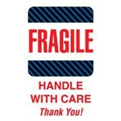 "#DL1560 4 x 6"" Fragile Handle with Care Thank You (Black-Blue Stripes) Label"