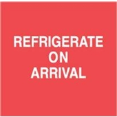 "#DL1800  4 x 4""  Refrigerate On Arrival (Red/White) Label"