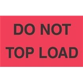 "#DL2301 3 x 5"" Do Not Top Load Label (Fourescent Red/Black)"