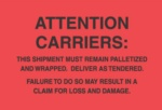 "#DL3181 4 x 6"" Attention Carriers (Fluorescent Red/Black) Label"