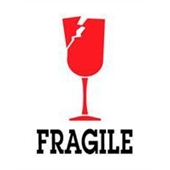 "#DL4100 3 x 4"" Fragile (Broken Glass) Label"