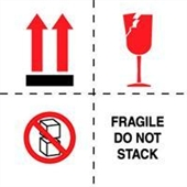 "#DL4501 4 x 4"" Fragile Do Not Stack (Boxes/Arrows/Broken Glass) Label"