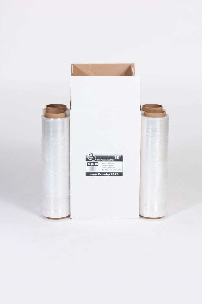 "16"" x 1476' 70 GA. EQ Ultra-Premium Hand Wrap - Use as replacement for 18"" x 1500' 70 Gauge (4/Case)"