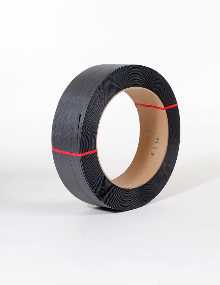 "1/2"" x 7,200` .027 500# 16 x 6 Black Hand Grade Poly Strapping #H1250EMB072T7"