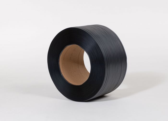 "1/2"" x 9000` .015 300# 8 x 8 Black Hand Grade Poly Strapping"