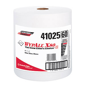 WypAll® X80 White Wipers on a Roll (475 Wipers/roll) (MFG# 41025)