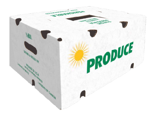 "14 x 10 13/16 x 6 11/16  200# 32 ECT PRINTED ""PRODUCE"" 15 bdl./ 500 bale"