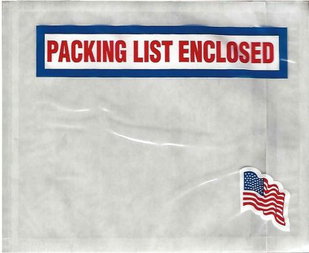 "4 1/2 x 5 1/2"" American Flag Packing List Envelope (1000/Case)"