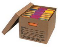 "15 x 12 x 10"" Kraft Economy File Storage Boxes with Lids (12/Case)"