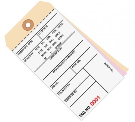 #8 3-Part Carbonless Inventory Tags #1000 - 1499 - Unwired (500/case)