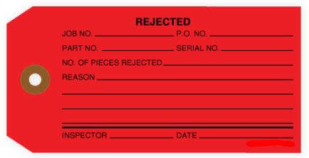 """#5 4 3/4"""" x 2 3/8"""" 13 Pt. Red """"Rejected"""" 1-Part Inspection Tags - Unwired (1000/case)"""