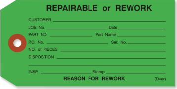 "#5 4 3/4"" x 2 3/8"" 13 Pt. Green ""Repairable or Rework"" 1-Part Inspection Tags - Unwired (1000/case)"