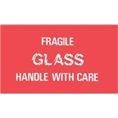 "#DL1150 3 x 5"" Fragile Glass Handle with Care Label"