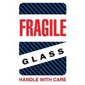 "#DL1570 4 x 6"" Fragile Glass Handle with Care (Black/Blue Stripes) Label"