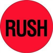 """#DL1740 2"""" Circle """"RUSH"""" Flourescent Red Label"""