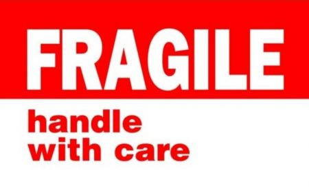 "#DL1767 3 x 5"" Fragile Handle with Care Label"