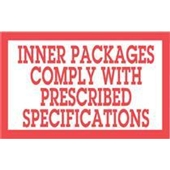 "#DL1810 3 x 5"" Inner Packages Comply with Prescribed Specs. Label"
