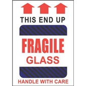 "#DL1980 4 x 6"" This End Up Fragile Glass Handle with Care (Black-Blue Stripes/Arrows) Label"