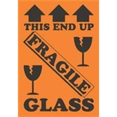 "#DL1981 4 x 6"" This End Up Fragile Glass (Arrows/Broken Glass) Label"