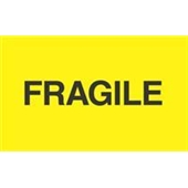 "#DL2422 3 x 5"" Fragile ""Flourescent Yelow"" Label"