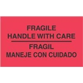 "#DL3011 3 x 5"" Fragil Maneje Con Cuidado - Bilingual Label"