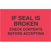 "#DL3171 3 x 5"" If Seal is Broken Check Contents Before Accepting Label"