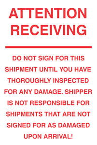 "#DL3175 6 x 10"" Attention Receiving (White/Red) Label"