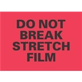 "#DL3192 4 x 6"" Do Not Break Stretch Film (Flourescent Red/Black) Label"