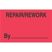 "#DL3341 3 x 5"" Repair / Rework By _____ Label"