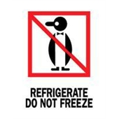 "#DL4000 3 x 4"" Refrigerate Do Not Freeze (Penguin) Label"