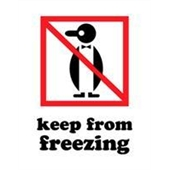 "#DL4200 3 x 4"" Keep from Freezing (Penguin) Label"