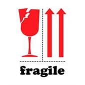"#DL4320 3 x 4"" Fragile (Broken Glass/Arrows) Label"