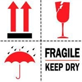 "#DL4420 4 x 4"" Fragile Keep Dry (Arrows/Broken Glass/Umbrella) Label"