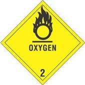 "#DL5080 4 x 4"" Oxygen - Hazard Class 2 Label"