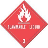"#DL5120 4 x 4"" Flammable Liquid - Hazard Class 3 Label"
