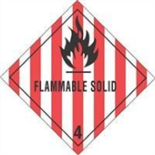 "#DL5130 4 x 4"" Flammable Solid - Hazard Class 4 Label"