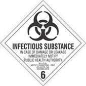 "#DL5190 4 x 4"" Infectous Substance - Hazard Class 6 Label"