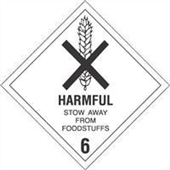 "#DL5200 4 x 4"" Harmful Stow Away from Foodstuffs - Hazard Class 6 Label"