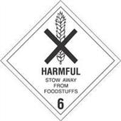"#DL5200 4 x 4"" Harmful Stow Away from Foodstuffs - Hazard Class 6 Label"