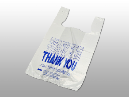 """Thank You"" Pre-printed T-Shirt Bags 11 1/2 x 6 1/2 x 21 1/2"" (1000/case)"