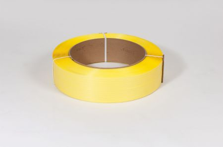 "FINAL SALE: 1/2"" x 7,200` .031 600# 16 x 6 Yellow Machine Grade Poly Strapping"