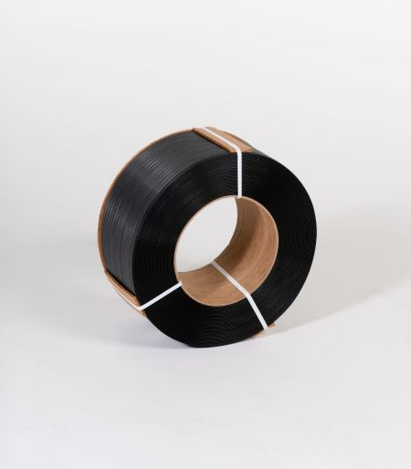 "FINAL SALE: 1/2"" x 6,600` .026 500# 9 x 8 Black Machine Grade Poly Strapping"